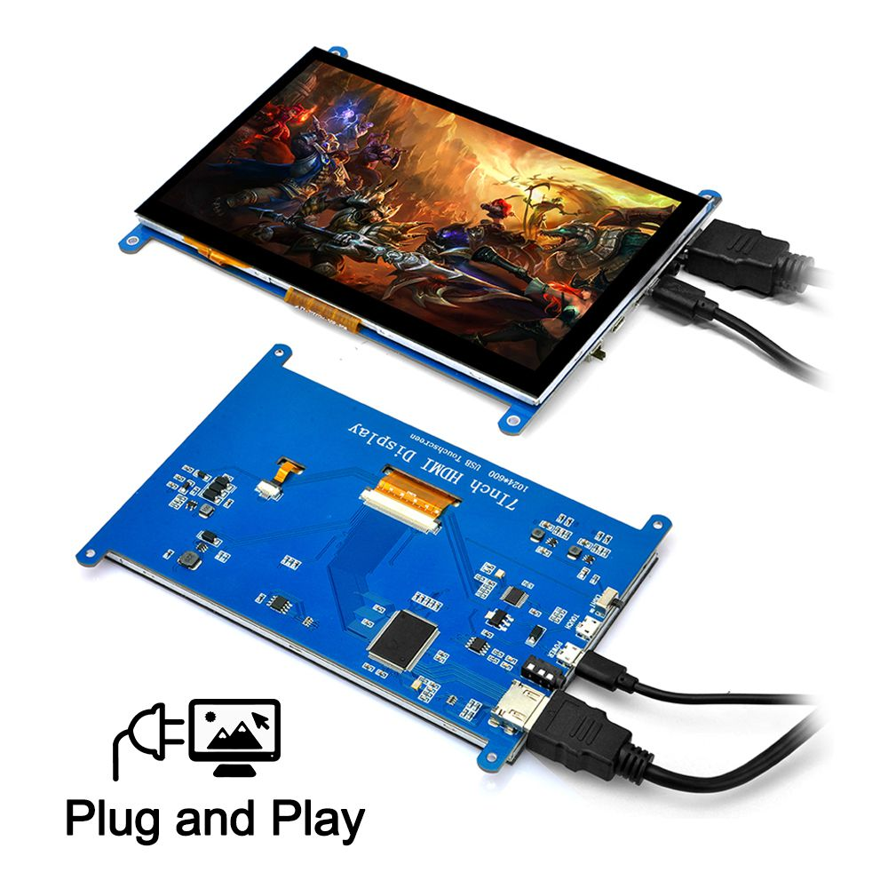 7 Inch Touch Screen HD 1024*600 Display Driver Free for Raspberry Pi